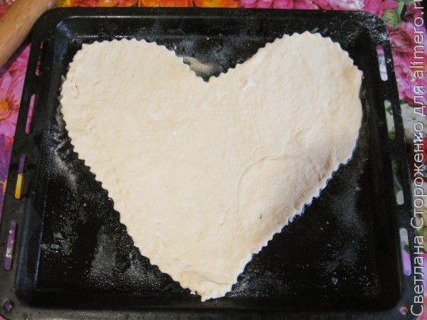 Мясная пицца в виде сердца