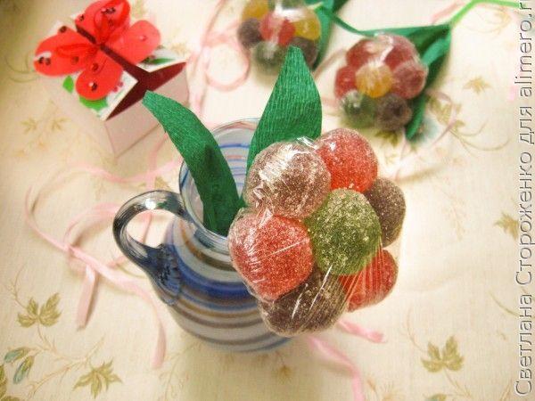 Сладкие цветы из мармелада своими руками