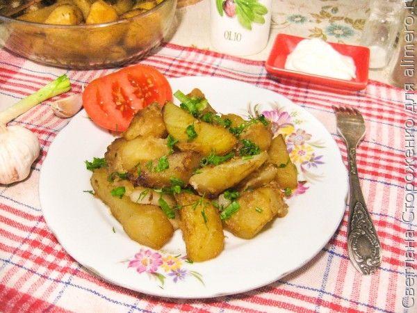 Запеченный картофель с салом в соевом соусе