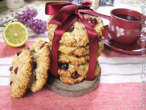 Овсяное печенье с творогом и клюквой