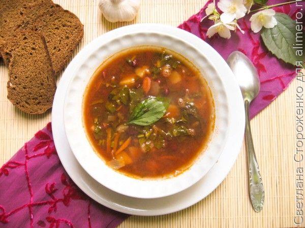 Суп с фасолью и щавелем