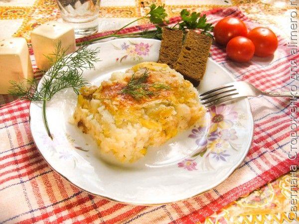 Картофельня запеканка с кроликом и кукурузой