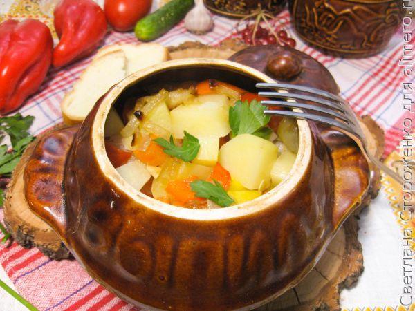 Овощи в горшочке с говяжьими ребрышками