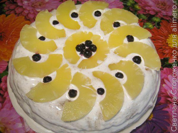 Сочный торт с ананасом