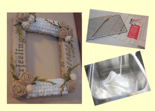 Оригинальность этой рамки в использовании необычной пупырчатой ткани. Для изготовления пупырчатой ткани нам понадобится: кусок ткани, решетка для барбекю и деревянная ложка.
