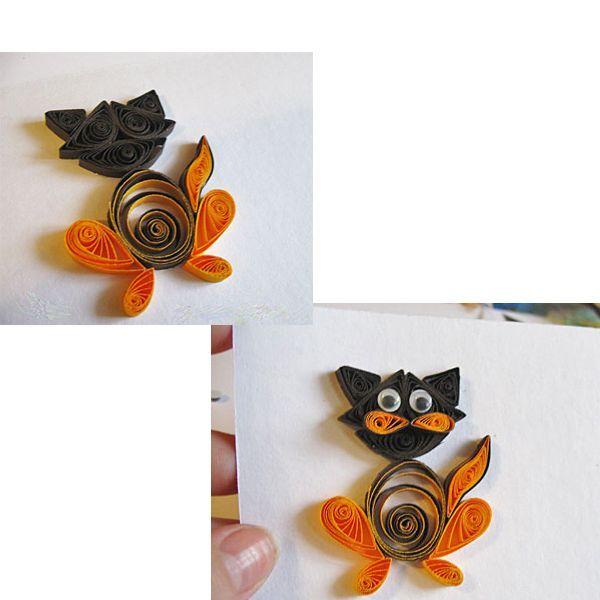 Начинаем сборку. На лист плотной бумаги или картона приклеиваем наши детали. Дождёмся, когда наш котик хорошенько высохнет и аккуратно вырежем подложку по контуру. К обратной стороне приклеим магнит – и котик готов!