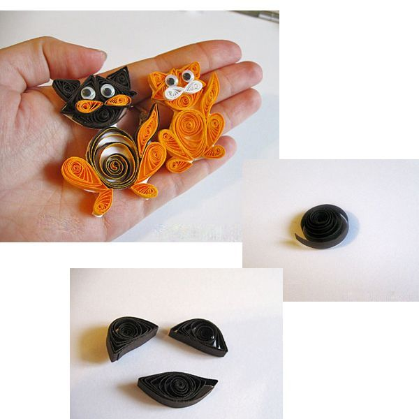 """Материалы и инструменты: бумага для квиллинга тёмно-коричневого и оранжевого цветов; инструмент для квиллинга и ножницы; клей ПВА; кусочек белого картона (или плотной бумаги); маленькие """"бегающие"""" глазки."""