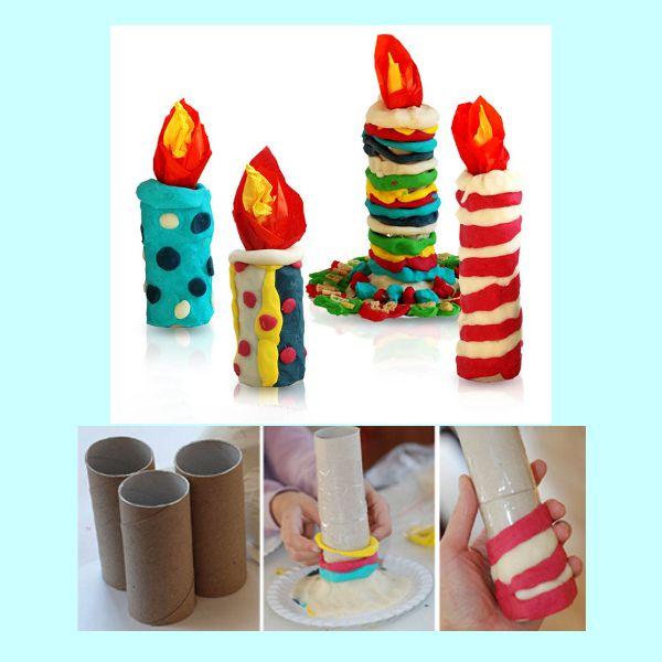Для изготовления этой новогодней поделки вам потребуются: соленое тесто или пластилин, картонная основа от рулона туалетной бумаги, гофрированная бумага красного, желтого и оранжевого цветов.