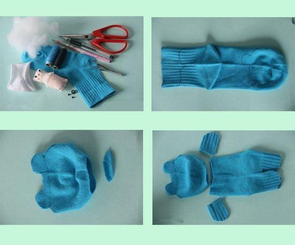 Для начала наметьте линии разрезов на носке, иначе вы рискуете испортить основу для игрушки, в случае не ровного надреза.