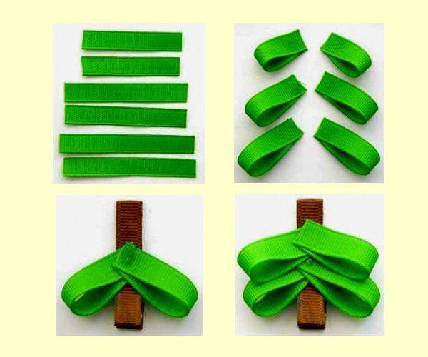 Нам понадобятся плотные ленты зеленого и коричневого цветов. Сложите их так, как показано на этих фото.