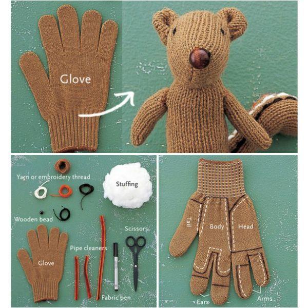 Потеряли перчатку? Не беда! Из оставшейся можно сшить мягкую игрушку. На этом фото показано, как это можно сделать без труда.