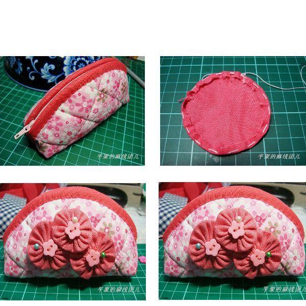 Чтобы сделать цветок из ткани, используйте то же лекало, что и для пошива косметички. Также для декора можно использовать бисер, пуговицы, бусины и т.д.