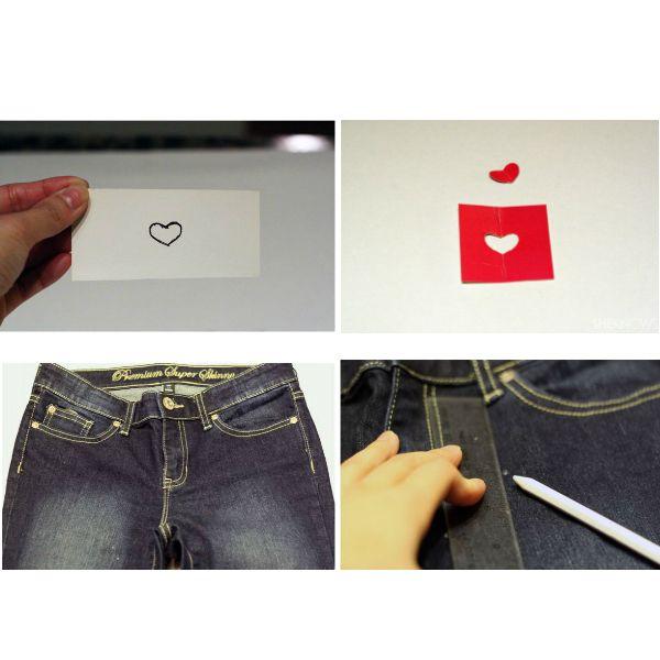 Необходимые материалы: джинсы; белая краска для ткани; емкость для краски; губка для макияжа; маркер для ткани; ножницы; ручка;  кусок картона.