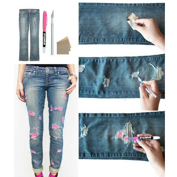 Способ сделать джинсы рваными — наждачная бумага. Вам понадобится наждачка с крупным зерном (60 или 80) для того, чтобы сделать дырки с белыми нитками.