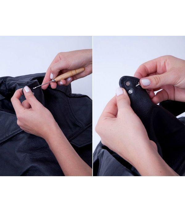 Крабики крепятся по тому же принципу, только отверстий нужно делать столько, сколько усиков у фурнитуры. Если узор сложный - нанесите его предварительно на куртку.