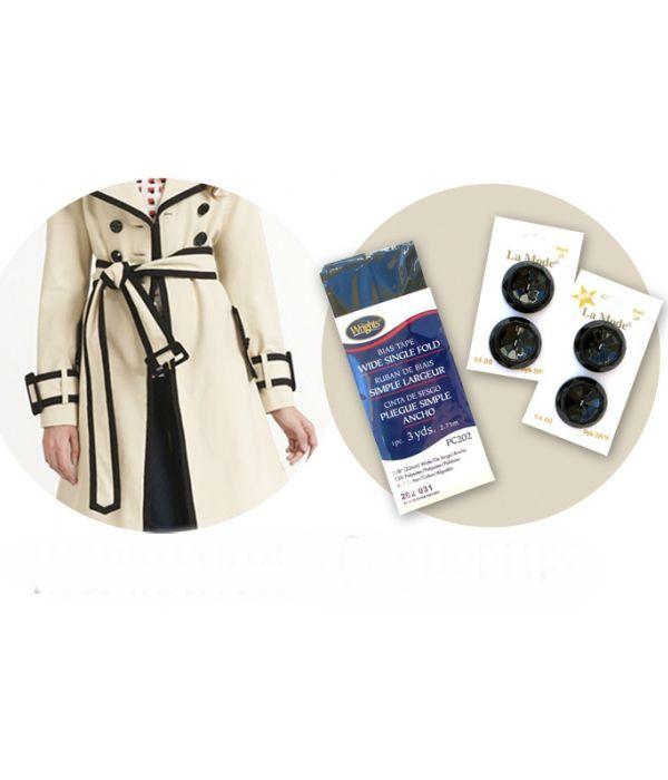 Надоело старое однотонное  пальто? Обшейте его лентой контрастного цвета, заметив при этом пуговицы. Вещь просто не узнать!