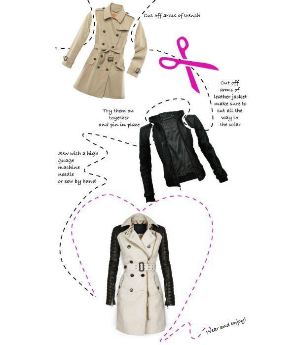 Небольшая подсказка нехитрого процесса замены рукавов тренча на рукава кожаной куртки. А вам нравится такой вариант?