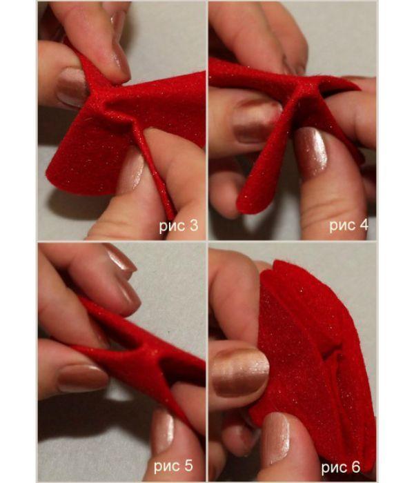Берем заготовки из красного фетра и складываем лепестки в количестве 4 штук. Для того, чтобы листочки не раскрылись, нанесем клей внутри каждого лепестка и кладем их под пресс.