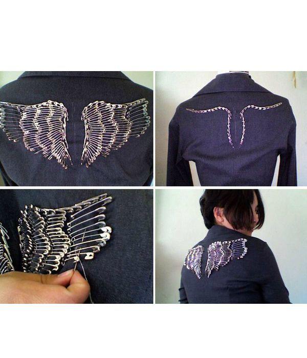 Не знаете как декорировать джинсовую куртку или жакет? Используйте булавки и фантазию! Рисунок выберите по вашему вкусу. Для удобства нанесите его на поверхность куртки.