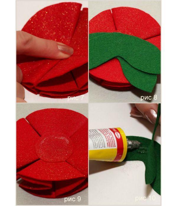 Берем красную окружность (заднее основание), наносим на нее клей и наклеиваем сложенные лепестки. Поверх приклеиваем листочки.