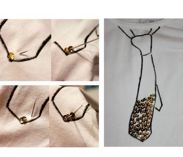 Нарисуйте на кофточке узор, который вам нравится. В этом варианте на кофте изображен галстук. Заполните пространство пайетками, пришивая каждую к поверхности.