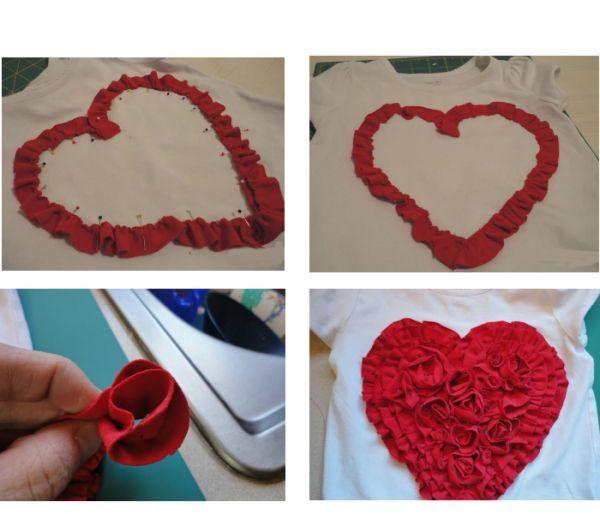 Прострочить полосы по краю и присборить для получения рюшей. Выложить рюши на футболку-основу в форме сердца, закрепив булавками. Пришиваем первый ряд рюшей к футболке.