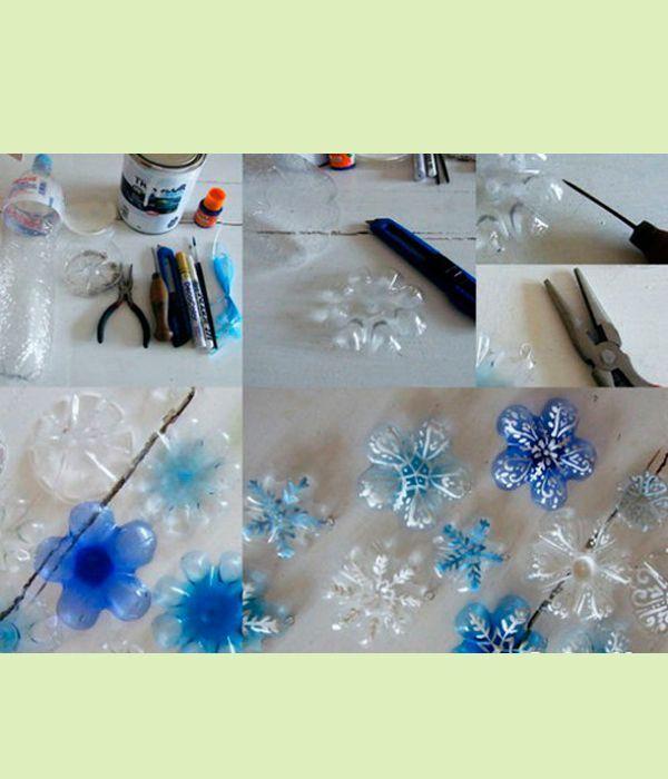 Так как снег белый, то и поделки из бутылок для детей лучше мастерить из пластикового материала белого или прозрачного цвета, чтобы в дальнейшем можно было их покрасить, и через слой краски не проступал бы нежелательный фон.