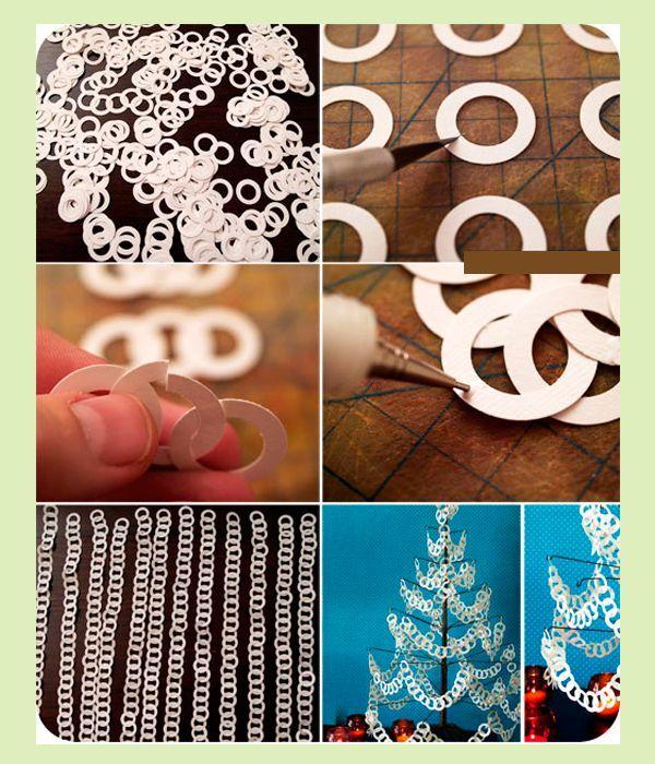 Очень просто, правда не совсем быстро, можно сделать гирлянду из бумаги на елку или для декора стен или межкомнатных дверей. Этим процессом вполне можно заняться вместе с ребенком – ему будет интересно!