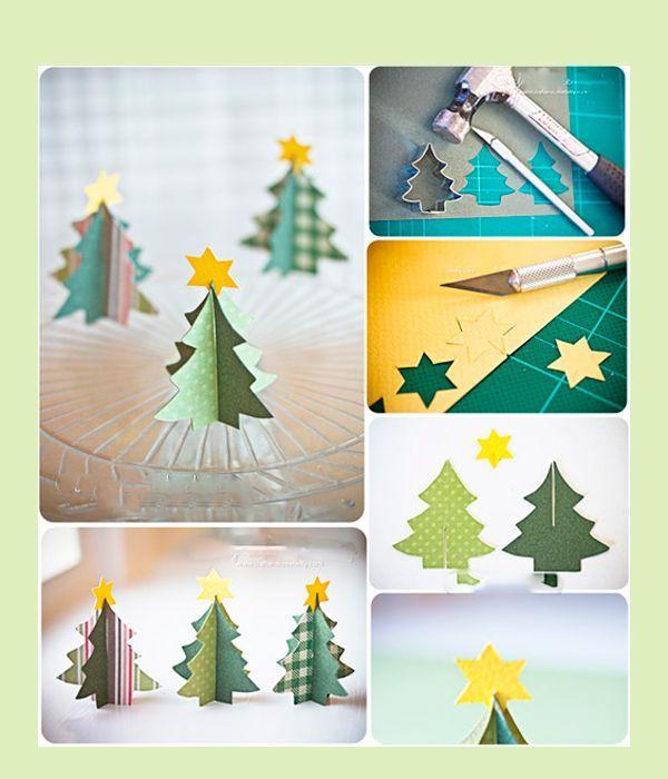 Понадобится вырезать фигурки дерева (по две на каждую елку) и звездочку, сделать надрезы снизу на одном шаблоне и сверху на другом до середины. Все, что останется – вдеть детали друг в друга.