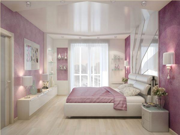 В спальне для молодых влюбленных не должно быть ничего лишнего – большая удобная кровать или же лежанка прямо на полу, встроенные шкафы, не завешанные большим количеством изображений стены.