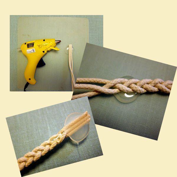 Сплетите косичку из трех веревок, предварительно скрепив край горячим клеем.Обрежьте край и придайте браслету круглую форму.