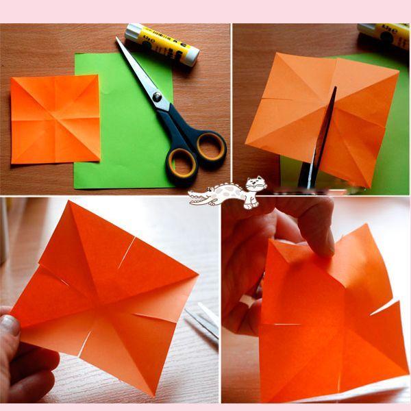 Сделайте разрезы так, как показано на фото. Намажьте клеем один из них клеем и накройте другим. Бутон готов.