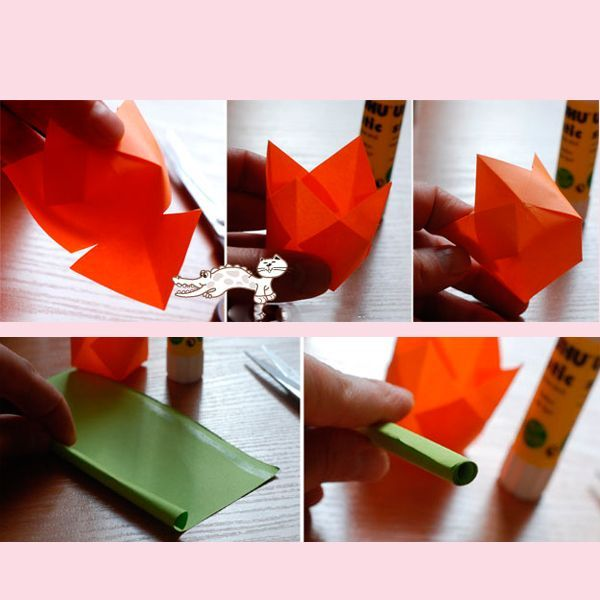 Для того, чтобы сделать стебель, сверните в трубочку зеленый лист бумаги. Чтобы он не развернулся, намажьте один край клеем.