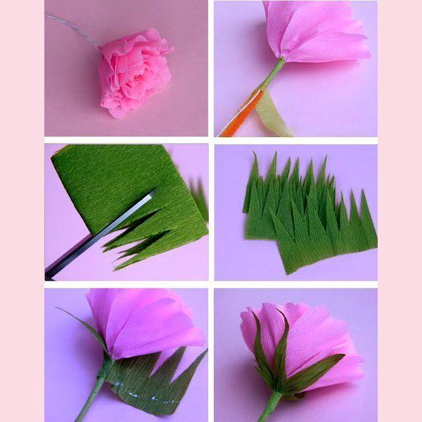 Теперь на основу наклеиваем лепестки. Смазывайте клеем только низ лепестков. Из зеленой гофрированной бумаги вырезаем чашелистик, как показано на рисунке, и приклеиваем его к нашей розе.