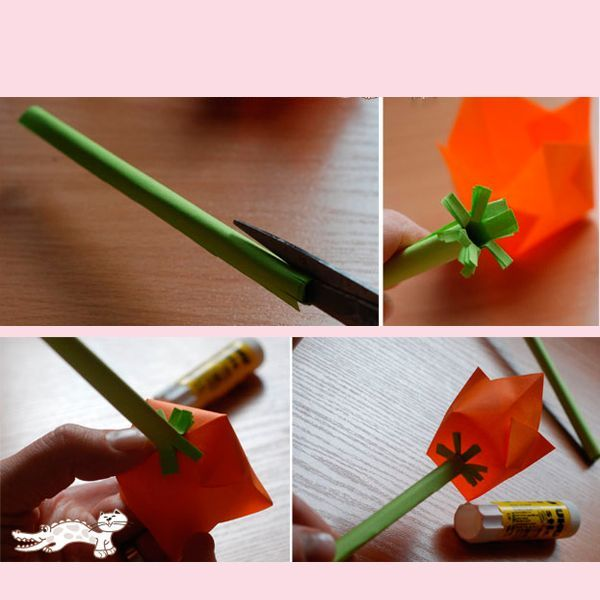 Прикрепите с помощью клея цветок к стеблю. Тюльпан готов! Можно поставить его в вазу или использовать для создания композиции.