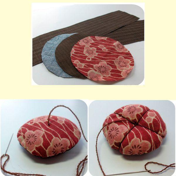 Вырезаем два круга из ткани. Сшиваем их между собой, набиваем. Прошиваем ниткой так, как показано на фото.