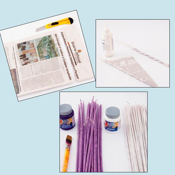 Вам понадобятся: газеты, канцелярский нож (ножницы), клей ПВА, акриловая краска - по желанию, крепкие нитки. Разрежьте газету на полоски. Из полосок скрутите трубочки.