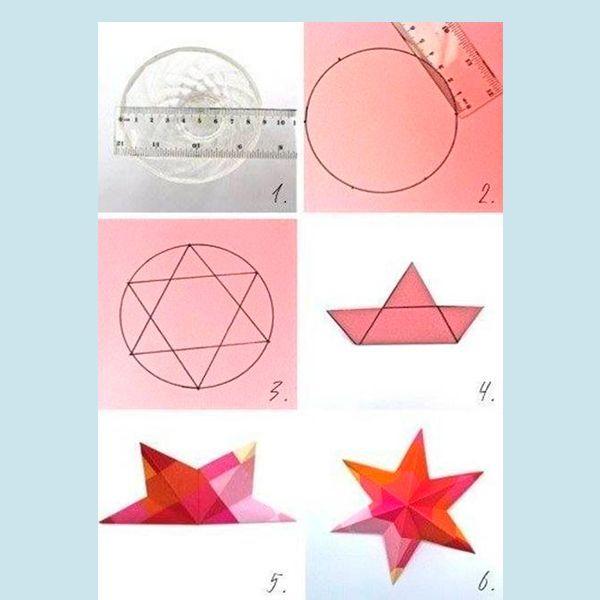 Чертим в окружности звезду. Затем вырезаем кусочки круга между вершинами треугольников. Сгибаем бумагу напополам, чтобы сгибы проходил через центр и попарно через вершины треугольников (3 сгиба) и через центр и попарно через точки между вершинами (3 сгиба).