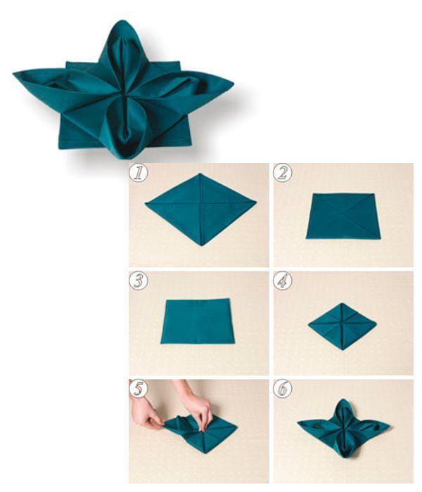 Салфетку сложите так, как показано на фото 1-6. Оставшиеся четыре уголка аккуратно вытяните из-под сложенной фигуры.