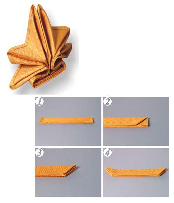 Сложите салфетку «гармошкой» в шесть полосок, из которых верхняя должна быть направлена от вас. Правый верхний угол заложите внутрь. То же проделайте с двумя лежащими ниже него углами. Подобным образом заложите все три угла с левой стороны.