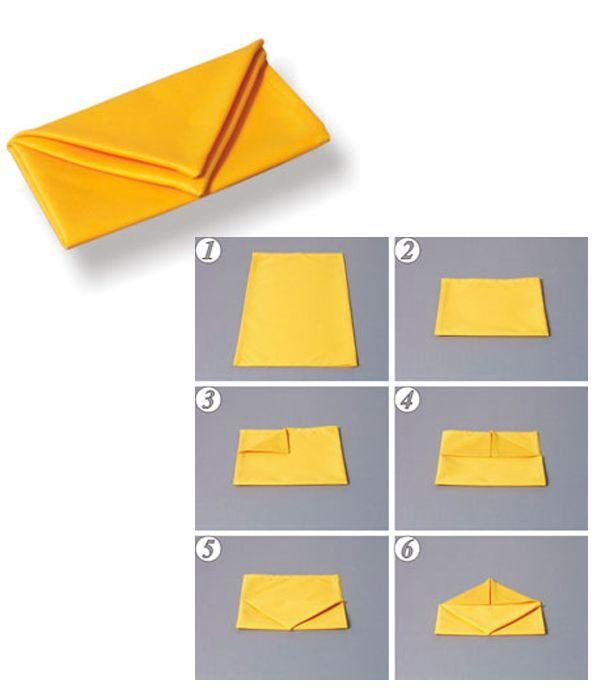 Сложите салфетку так, как показано на фото 1-6. Получившийся треугольник осторожно отогните вниз на первый треугольник.