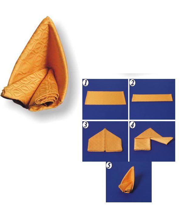 Салфетку сложите пополам дважды. Обе стороны узкого прямоугольника загните вниз. Фигуру поверните и из концов скрутите «кулечки», соедините ихдруг с другом.