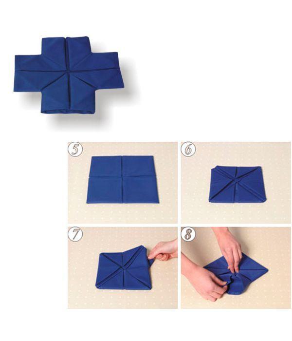 Переверните салфетку. Еще раз каждый уголок загните к центру. Вытяните наружу правый верхний угол, затем все остальные углы. Слегка разгладьте салфетку.