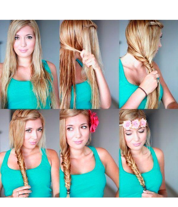 Часть волос у челки закрутите жгутом и закрепите невидимкой. Сбоку заплетите косу рыбий хвост. Украсьте прическу цветком или ободком.