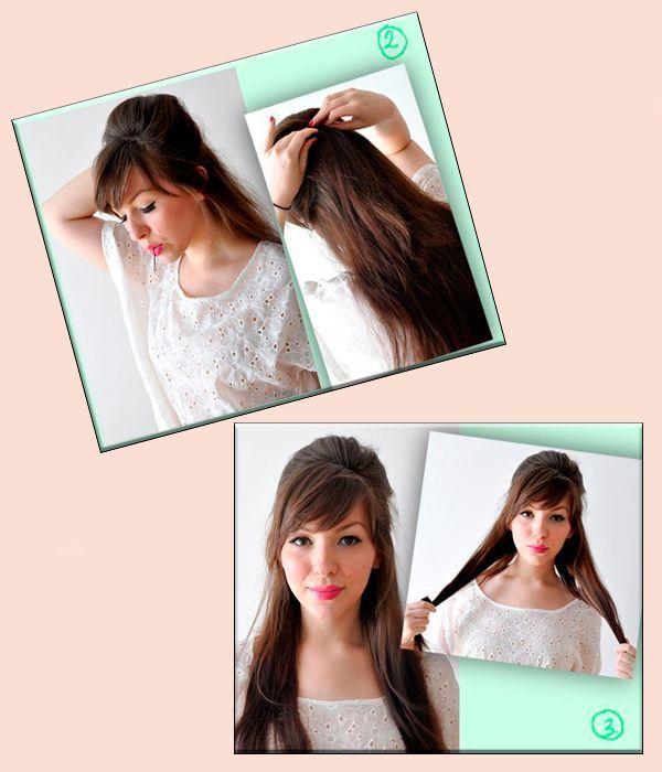 Соберите волосы с верхней части головы в хвост. Слишком туго завязывать не надо, нужен объем. Поэтому предварительно сделайте начес.