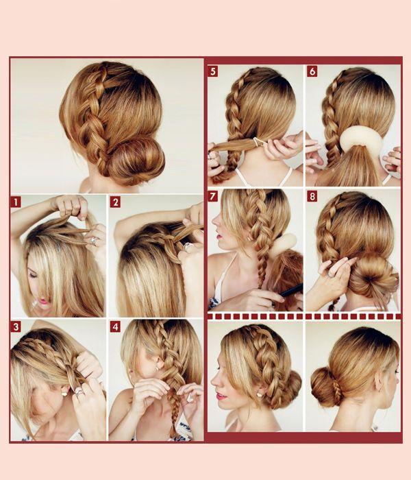 По линии роста волос заплетите обратную французскую косу. Соберите волосы в хвост, с помощью специальной резинки сделайте пучок, подхватив косичку.