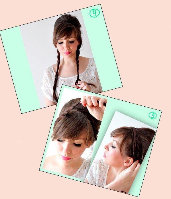 Поделите оставшиеся волосы пополам. Из каждой пряди заплетите косичку. Укладывайте косички по кругу, закрепляя прическу шпильками.