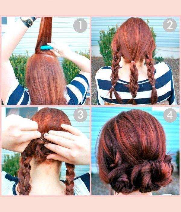 Для того чтобы сделать такую прическу, заплетите три косы из прядей одинаковой толщины. Каждую косу закручивайте, не забывая использовать шпильки.