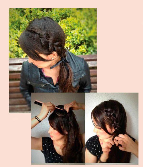 Такая прическа делается легко. Отделите небольшую часть волос вверху, у челки. Начните плести обратную французскую косу, подбирая пряди по бокам.