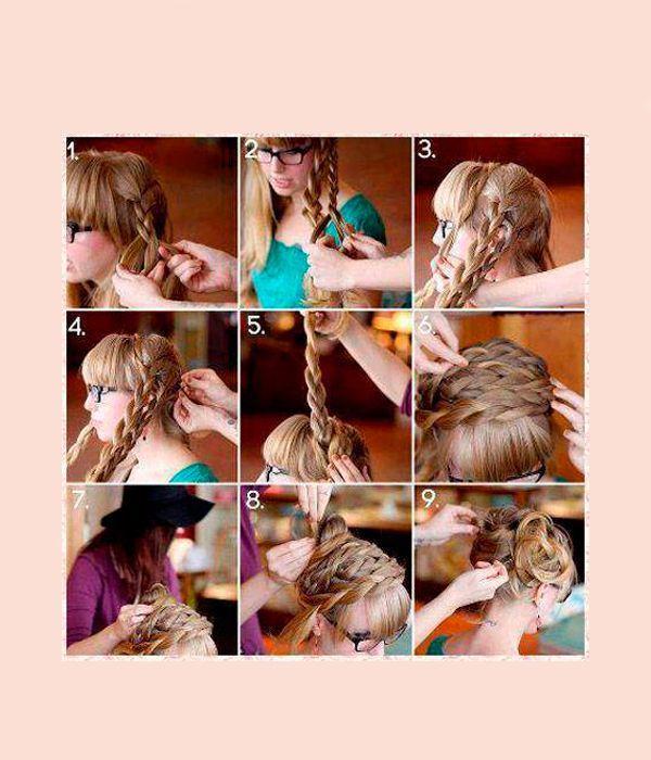 Заплетите по несколько косичек с каждой стороны. Уложите их, используя невидимки, вокруг головы. Оставшиеся волосы уложите ракушкой.